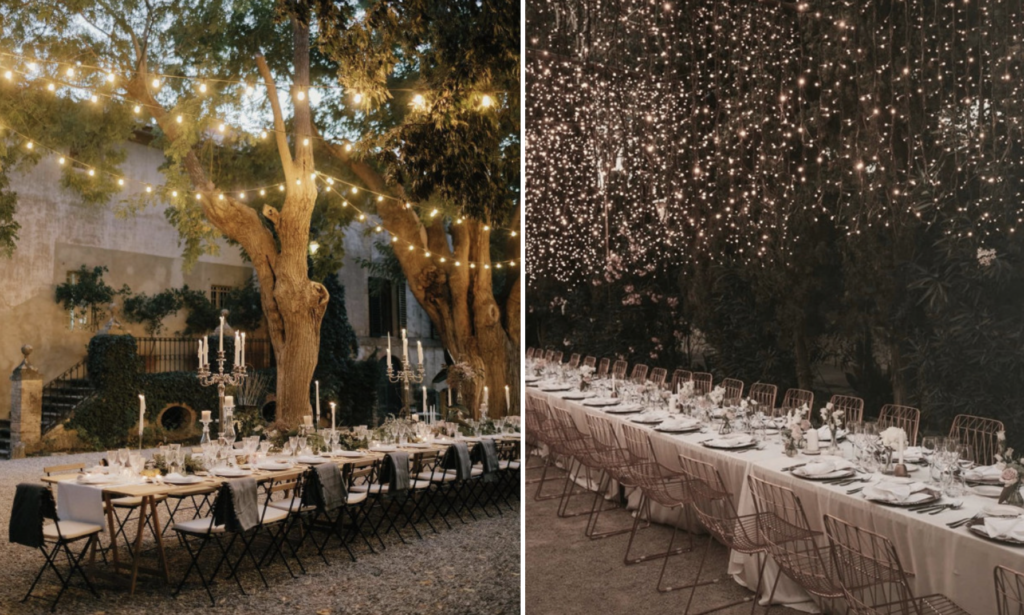 create a wedding atmosphere with fairy lights